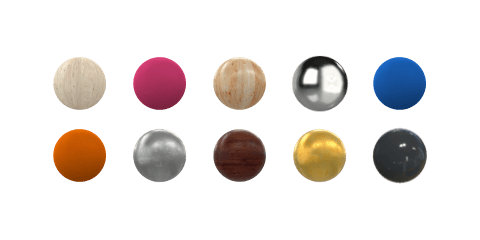 Sample of colors and materials from Moblo, free 3D modeling software.