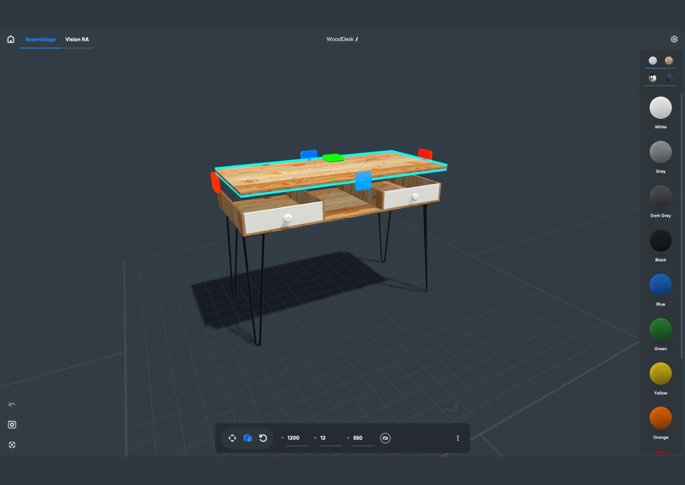 Moblo user interface, the easiest free 3D modeling app for furniture design