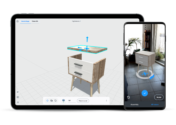 3D furniture visualization with augmented reality with the free 3D mobdeling app Moblo